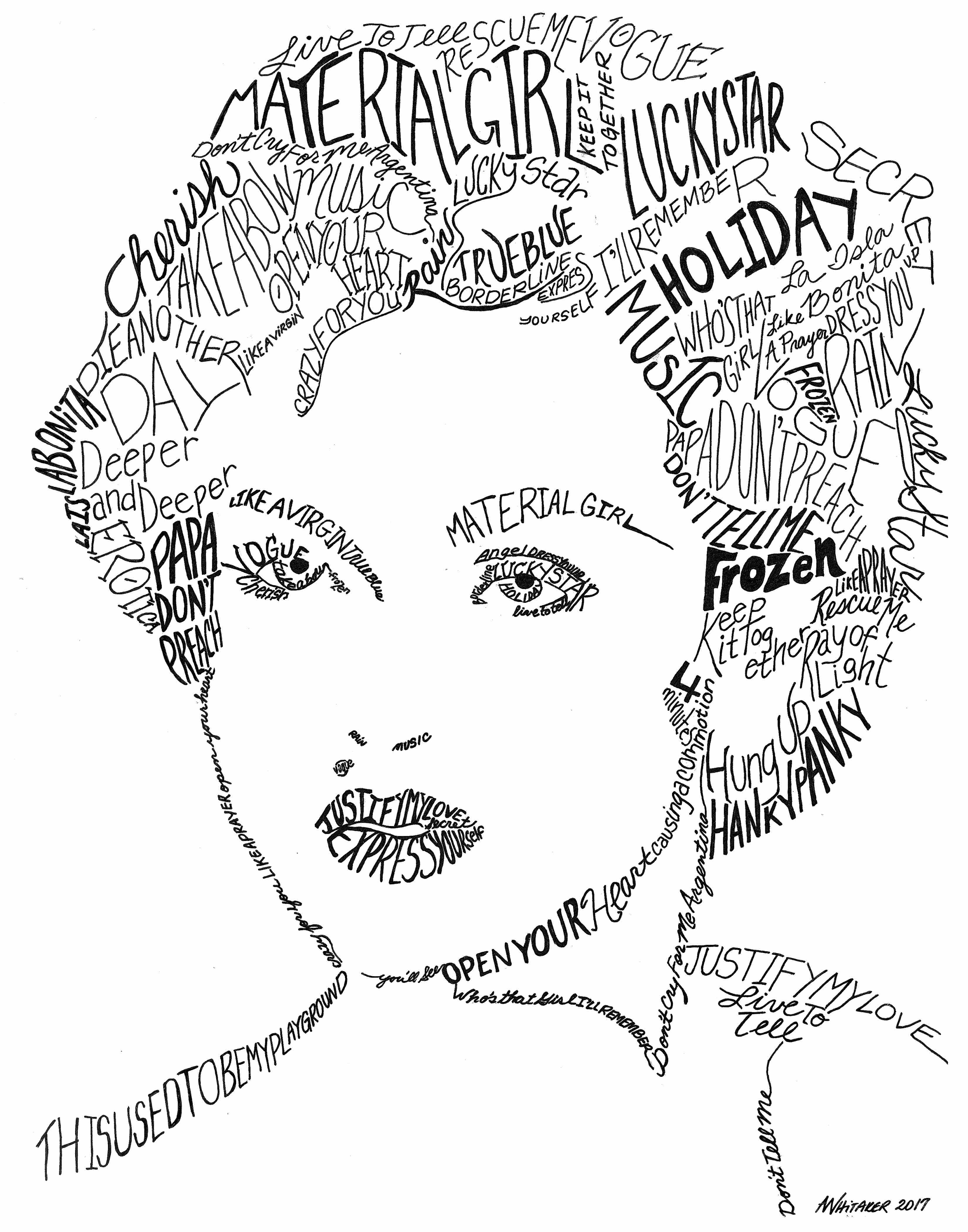Madonna lyrical portrait art by amy for 11x14 paper size